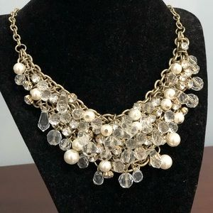 Crystal & pearl statement necklace
